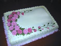 Birthday Cake sheet cake for my cousin's birthday - everyone loved this one! 70th Birthday Cake, Birthday Sheet Cakes, Happy Birthday, Bolo Floral, Floral Cake, Wilton Cake Decorating, Birthday Cake Decorating, Pastel Rectangular, Sheet Cakes Decorated