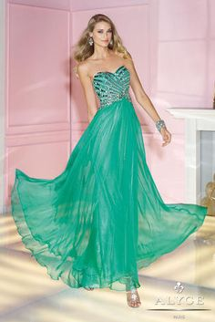 Alyce Paris Prom - 6193 An A-Line Silky Chiffon dress with sweetheart neckline and open back. Hand-sewn sequins on bodice with natural waistline in electric green at Estelle's Dressy Dresses! #estellesdressydresses #prom2014 #chiffon #electricgreen