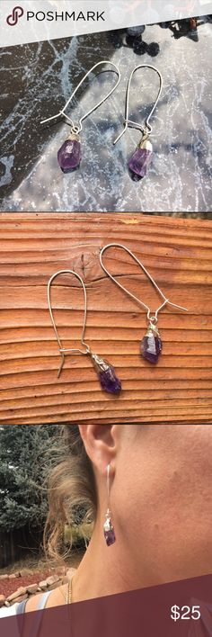 "Raw Amethyst Dangle Earrings Brand new and made with love! Gorgeous genuine raw cut purple Amethyst Crystals on silver tone dangle earrings! ""Amethyst is a meditative and calming stone which works in the emotional, spiritual, and physical planes to promote calm, balance, and peace. Used since ancient times to eliminate addiction and impatience.""  Amethyst stones are roughly .5"" long, Silver tone dangle 2"" long. Alloy free. Healing, trendy and oh so pretty! Wild Arrow Jewelry Earrings"