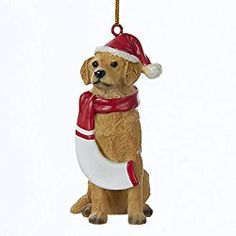 golden retriever christmas ornament with santa hat and scarf first christmas ornament santa ornaments
