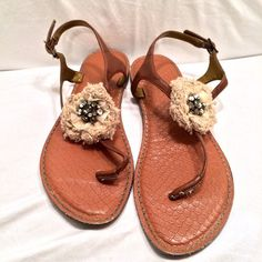 Embellished Floral Tan and Brown Sandles Super cute, good used condition. Signs of wear, especially on the bottom, but the part you see (as shown in the pictures) is in great condition. LOFT Shoes Sandals