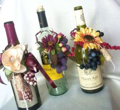 centerpieces using wine bottles | Items similar to Wine Bottle Accessory Centerpiece Wine Grape Decor on ...