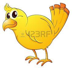 Illustration of cartoon yellow bird