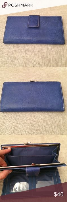 """New blue leather wallet with floral decor New blue leather wallet with floral decor. Very soft. 7 1/2"""" long, 4"""" high. Guang Tong Bags Wallets"""