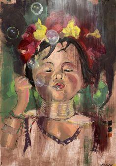 """Project """"Bubble"""" olie op papier 70 x100 cm Bubbles, Portraits, Projects, Painting, Art, Log Projects, Art Background, Blue Prints, Painting Art"""