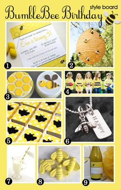 A bumble bee party inspiration board - fun ideas!