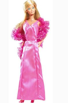 1977 - first doll w/ bent arms...Superstar Barbie...probably the reason I hate pink but DO LOVE BARBIE. Everything that they made in 77 for this doll I had, the house, the corvette all of it for my 77 Cmas! The Living room looked like Pepto Bismol exploded!