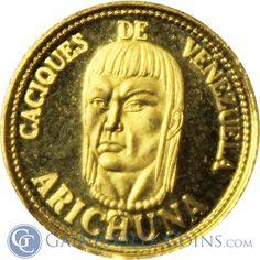Venezuela Cacique Arichuna Gold Coin 1.5 Grams of Gold http://www.gainesvillecoins.com/