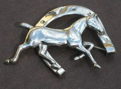 Vintage Sterling Silver Horse & Horseshoe Brooch #vintagejewelry #sterlingsilverbrooch #horsebrooch #equestrianjewelry $42.00