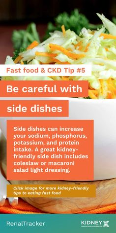 Follow this tip if you cannot avoid ordering fast food. Click the image for more tips on how to make the right fast food choices on a renal diet. Fast Food Salads, Fast Food Menu, Fast Healthy Meals, Healthy Kidney Diet, Healthy Kidneys, Kidney Health, High Sodium, Renal Diet, Food Swap
