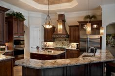 love the kitchen counters and design space Transitional Living Rooms, Transitional Kitchen, Transitional Decor, Kitchen Family Rooms, Living Room Kitchen, Kitchen Design, Kitchen Decor, Kitchen Ideas, Custom Kitchen Cabinets