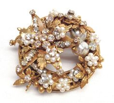 Original by Robert Pendant Brooch Pin with Faux Pearls Filagree Amp Rhinestones | eBay