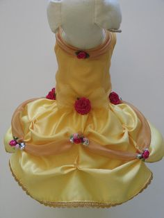 Beauty and the beast~Belle Princess Dog Dress~ lil known fact: pomeranians love attention and therefore they love wearing cute outfits
