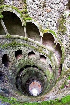 The Initiation Well, in Sintra, Portugal. A stunning historical place to see.  Climb up into the light out of the darkeness or down into the depths of the earth.