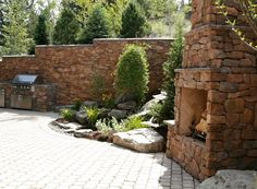 Outdoor Stone and Fireplace Outdoor Rooms, Outdoor Living, Outdoor Furniture, Outdoor Decor, Stone Gallery, Manufactured Stone, Outdoor Stone, Pergola, Fire