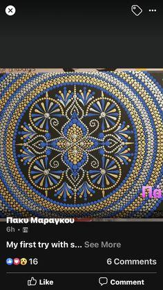 Dot Art Painting, Mandala Painting, Mandala Rocks, Dots, Tapestry, Projects, Pointillism, Stitches, Hanging Tapestry