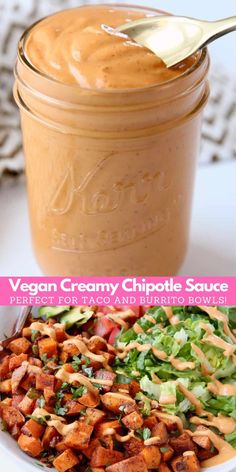 Made with a creamy cashew base, this Vegan Chipotle Sauce recipe is incredibly flavorful, velvety smooth and easy to make in 5 minutes! Vegan Dinner Recipes, Raw Food Recipes, Sauce Recipes, Cashew Recipes, Taco Bowls, Burrito Bowls, Vegan Sauces, Vegan Dishes, Vegan Chipotle Sauce Recipe