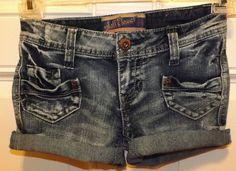 WALLFLOWER Cut Off BOOTY Shorts ~ Daisy Dukes Waist 26 x 3 Sz 1 Super Cute! #Wallflower #CutoffShorts