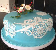 Blue and White sparkle snowflake cake - by Kath @ CakesDecor.com - cake decorating website