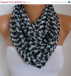 Heart Infinity Scarf Spring Summer Scarf Chiffon by fatwoman