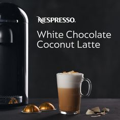 Enjoy our White Chocolate Coconut Latte Recipe, a delicious blend of Espresso, Milk, and Coconut Syrup topped with a generous helping of White Chocolate Sauce and Coconut Flakes. Coconut Latte Recipe, Coconut Syrup, Toasted Coconut, Coconut Flakes, White Chocolate Sauce, Homemade Chocolate, Hot Chocolate, Nespresso Recipes, Cappuccino Machine