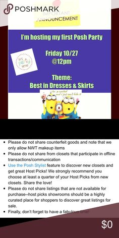✨PARTY TIME✨ I'm hosting my first posh party this Friday@ 12pm. The theme is:- Best in Dresses & Skirts. Some of the things I'm looking for are:- Closet compliant closets.  Clear/ in focus pictures of entire garments. Detailed descriptions. Closets that have never had a host pick. Active sellers. Can't wait to start looking at closets. Please tag me in the item you would like me to consider... Have a great week and see you at the party..... Happy Poshing 😊 PARTY HOST Other