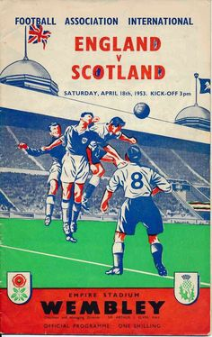 England 2 Scotland 2 in April 1953 at Wembley. Programme cover #HomeChamp