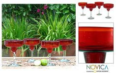 Set of 4 Scarlet Freeze Margarita Glasses (Mexico) - Overstock™ Shopping - Great Deals on Novica Glassware