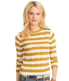 Cable Crewneck Sweater, Stripe from LL Bean