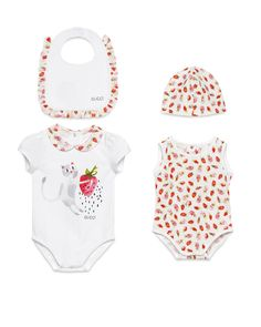 Gucci Strawberry Playsuit, Bib & Hat Gift Set, White/Red, Size 0-9 Months, Size: 6-9 Months