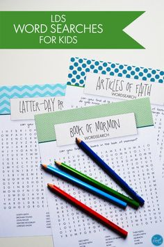latter-day prophet, book of mormon, and articles of faith word searches for kids - great for general conference, sacrament meeting, family home evening, etc.   www.livecrafteat.com