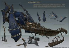 Valkyrie Ships of the Northern Wilds. Fantasy Concept Art, Fantasy Artwork, Steampunk Ship, Flying Ship, Bateau Pirate, Dungeons And Dragons Homebrew, Fantasy Weapons, Fantasy Inspiration, Fantasy Landscape