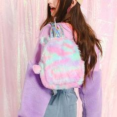 This adorable mini backpack features a fluffy faux fur construction in sweet pink and blue color. Buy Fashion Cute Plush Unicorn Shaped backpacks Hologram Perfect for Women Girls School Bags or Backpacks. Trendy Backpacks, Backpacks For Sale, Fur Backpack, Fashion Backpack, Bad Barbie, Kawaii Accessories, Cute Plush, Bat Wings, Back To School