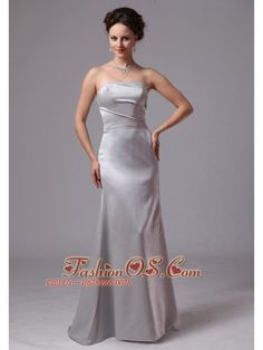Simple Silver Column Satin Brush Train Mother Of The Bride Dress For Customize In Clayton Georgia- $135.78  http://www.fashionos.com   elegant 2013 2014 new prom celebrity dress | cheap plus size 2013 prom homecoming gowns | 2013 junior prom pageant dress | 2014 2015prom evening dresses | 2015 prom dress | floor length prom gown | popular sexy prom dress in ny |