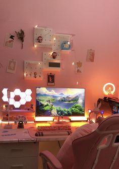 Room Ideas Bedroom, Bedroom Decor, Gaming Room Setup, Pc Setup, Otaku Room, Cute Room Ideas, Kawaii Room, Game Room Design, Pretty Room