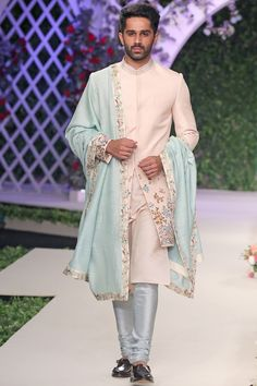 Ivory and pale blue thread work sherwani set Indian Groom Dress, Wedding Dresses Men Indian, Wedding Outfits For Groom, Wedding Dress Men, Wedding Suits, Bridal Outfits, Wedding Wear, Indian Weddings, Farm Wedding