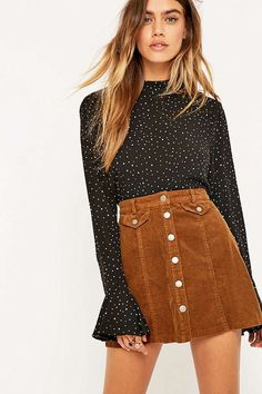 Urban Outfitters Button Front Mink Corduroy Mini Skirt - Urban Outfitters