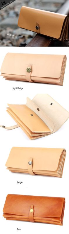 Handmade yellow modern minimalist leather phone clutch long wallet for…