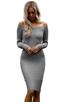 Sukienka szara odkryte ramiona midi hit modowy