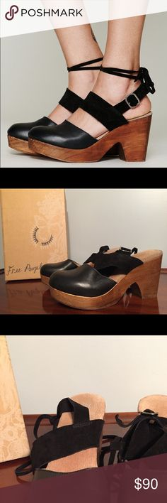 Free People Belmont clog Super cool Free People Belmont clog, leather and suede ties. In great condition and super comfy! I am a size 9 and these fit me perfectly. Free People Shoes Mules & Clogs