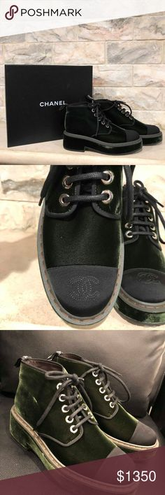 Chanel 17B Green Velvet Black CC Logo Lace Up Chanel 17B Green Velvet Black CC Logo Lace Up Combat Short Ankle Boots 41  ********** Chanel **********  Brand: Chanel Size: 41 (know your Chanel size)  Name: Short Color: Green Style: Ankle Boots Style: 17B Style#: G33169Y52174 Material: Velvet Large CC black front logo Grosgrain cap toe Short ankle boots Lace up tie front Rich Green velvet material Chanel logo back tab Brand new in box, comes with box and dust bag CHANEL Shoes Combat & Moto…