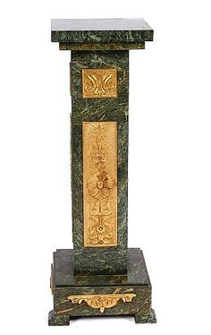 A pair of Louis XVI style gilt bronze and marble pedestals
