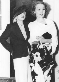 Jean Harlow and Marlene Dietrich leaving The Trocadero nightclub