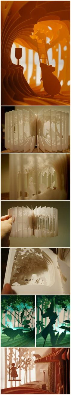 Artist and architect Yusuke Oono has designed an amazing series of 40-page books that fan out into 360-degree storybooks.