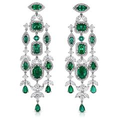 One-of-a-kind emerald and diamond earrings by Roberto Coin.