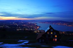 Zurichsee at the blue hour Feusisberg by Andrey Sulitskiy Blue Hour, Airplane View, Explore, Exploring