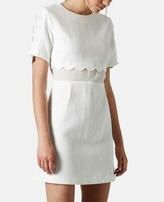Cute for the weekend | Topshop Scallop Trim Chiffon Inset Dress