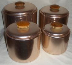 4 Piece Retro 1960's MIRRO Aluminum Copper Canister Set #crowsnest324