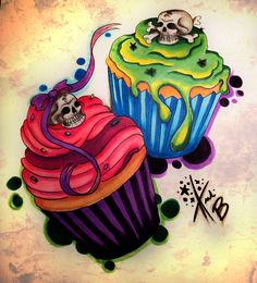 Skull Candy Cupcakes by *BabyDollB
