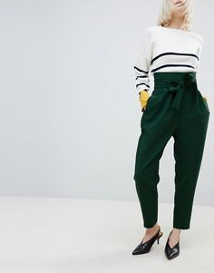56916b2e75c2 ASOS Tailored Super High Waist Balloon Tapered PANTS With Self Belt  Afslappede Looks